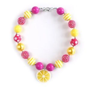 Girls boutique lemon bubble necklace